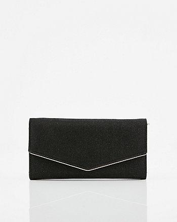 Metallic Flapover Crossbody Wallet