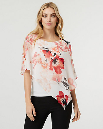 Floral Print Chiffon Poncho Blouse