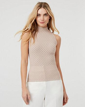 Pointelle Knit Mock Neck Sweater