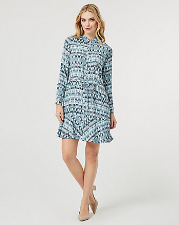 Geo Print Button-Front Tunic Dress