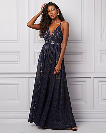 Lace Deep-V Neck Gown