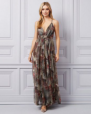 Floral Print Metallic Knit Deep-V Gown