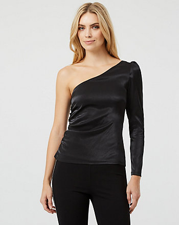 Metallic Stretch One-Shoulder Blouse