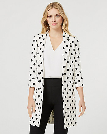 Ponte Knit Notch Collar Relaxed Fit Blazer