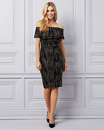 Sparkle Knit Off-The-Shoulder Ruffle Dress