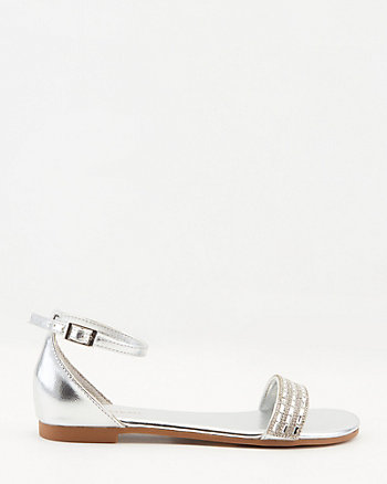 Metallic Jewel Embellished Open Toe Flat