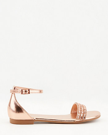 Metallic Jewel Embellished Open Toe Flat