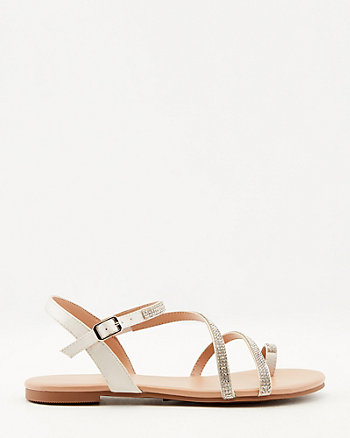 Jewel Embellished Satin Flat Sandal