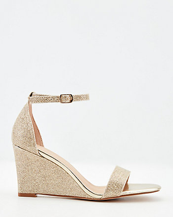 Glitter Mesh Square Toe Wedge Sandal