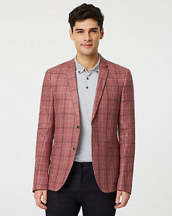 Glen Check Print Linen Slim Fit Blazer