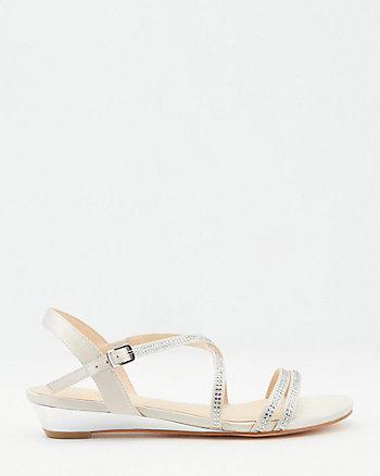 Jewel Embellished Satin Wedge Sandal