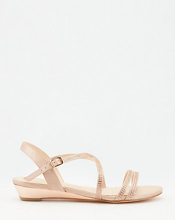 Jewel Embellished Satin Wedge Sandal