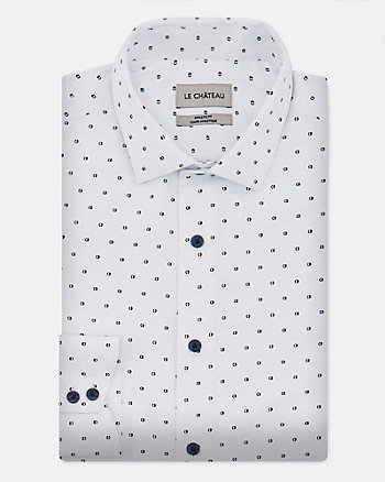 Dot Print Cotton Blend Athletic Fit Shirt