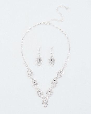 Gem Encrusted Earrings & Necklace Set