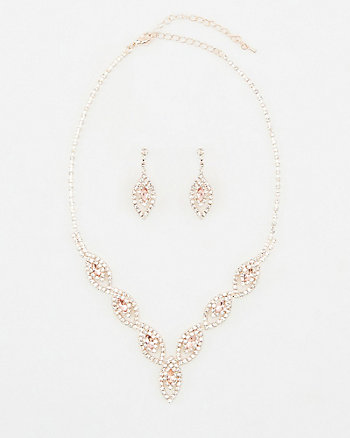 Gem Encrusted Earrings & Necklace Set