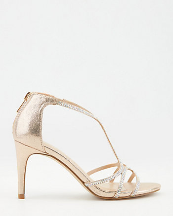 Jewel Embellished Faux Suede Sandal