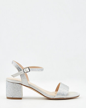 Jewel Embellished Satin Open Toe Sandal