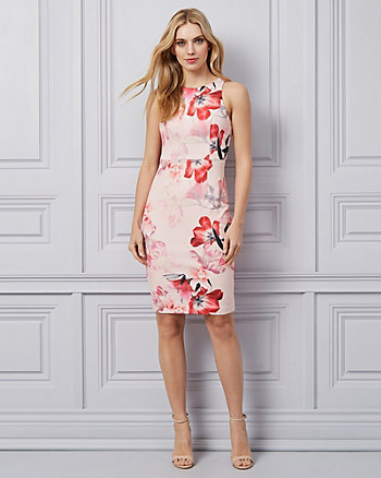 Floral Print Knit Crêpe Halter Neck Dress