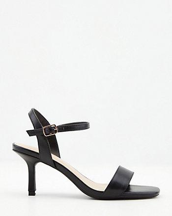 Faux Leather Square Toe Sandal