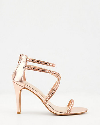 Metallic Faux Leather Strappy Sandal