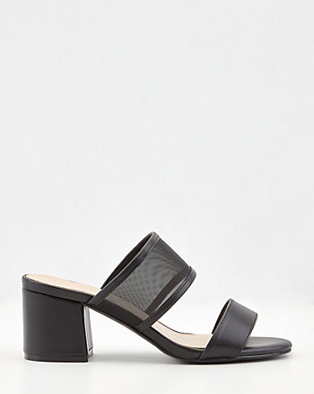 Faux Leather & Mesh Square Toe Slide Sandal