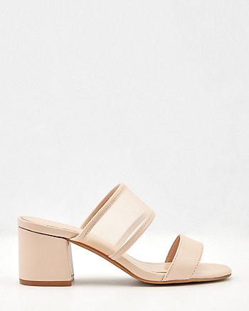 Faux Leather & Mesh Square Toe Slide Sandal