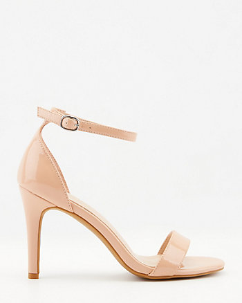 Patent Faux Leather Open Toe Sandal
