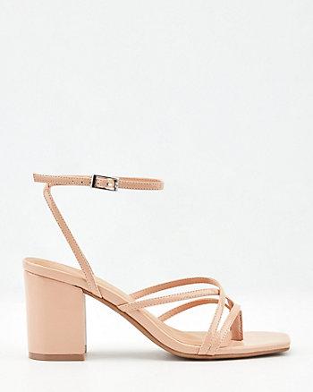 Sandale en similicuir d'aspect verni
