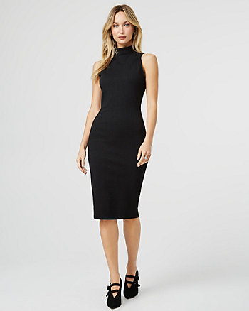 Ponte Knit Mock Neck Dress