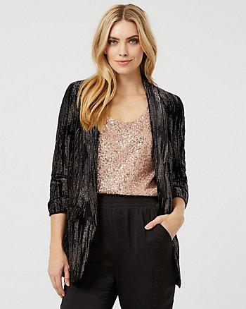 Sparkle Velvet Open-Front Blazer