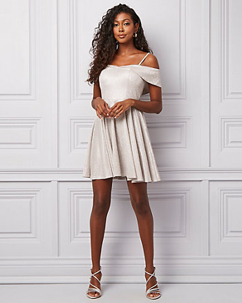 Metallic Knit Off-the-Shoulder Party Dress