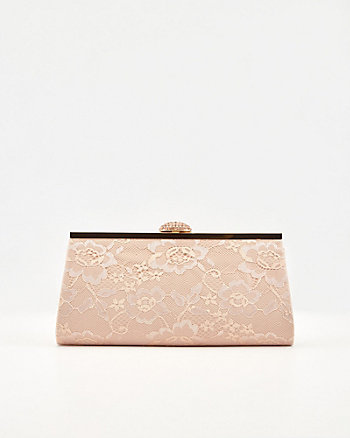 Jewel Embellished Lace & Satin Clutch