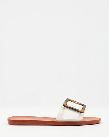 Faux Leather Slide Sandal