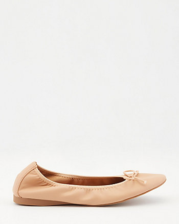 Faux Leather Ballerina Flat