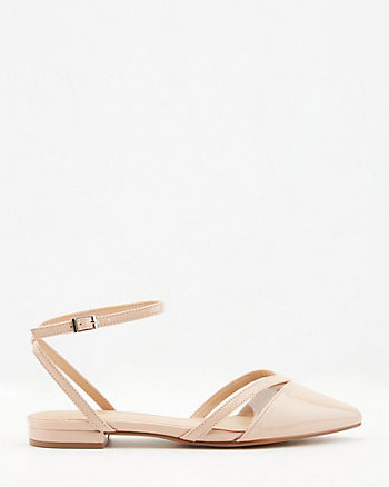 Patent Faux Leather Pointy Toe Flat