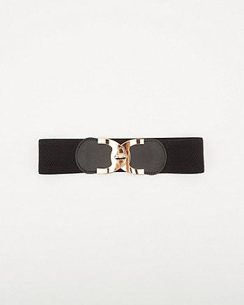 Elastic & Faux Leather Belt