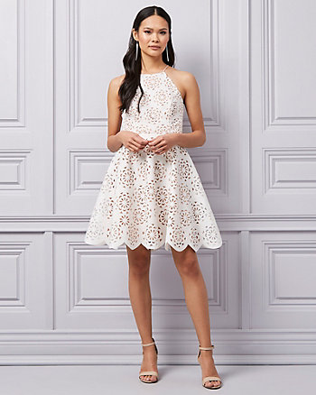 Laser Cut Knit Halter Neck Dress
