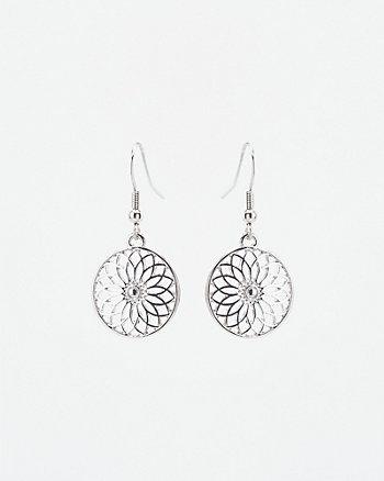 Floral Disc Drop Earrings
