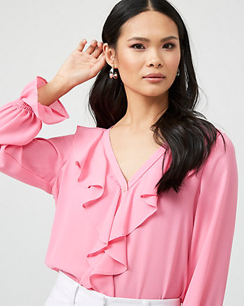 V-Neck Ruffle Blouse