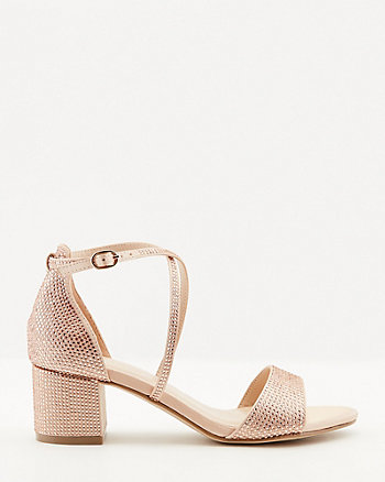 Jewel Embellished Satin Criss-Cross Sandal