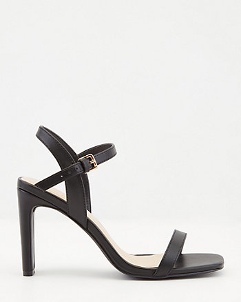 Faux Leather Ankle Strap Square Toe Sandal