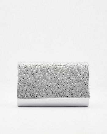 Jewel Embellished Faux Suede Crossbody Bag