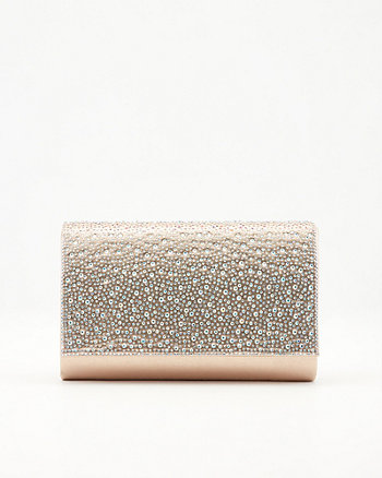 Jewel Embellished Faux Suede Crossbody Bag