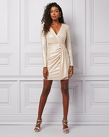 Foil Knit Wrap-Like V-Neck Dress