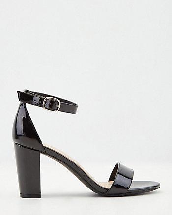Patent Faux Leather Ankle Strap Sandal