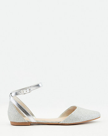 Glitter Mesh Pointy Toe d'Orsay Flat
