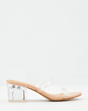 Translucent & Faux Leather Slide Sandal