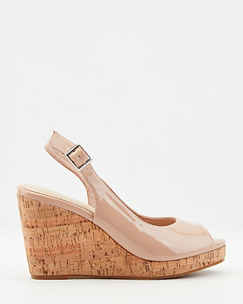 Patent Faux Leather Wedge Sandal