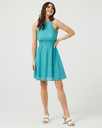 Lace Halter Neck Fit & Flare Dress