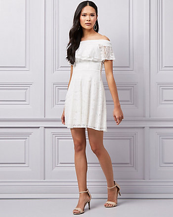 Lace Off-the-Shoulder Fit & Flare Dress